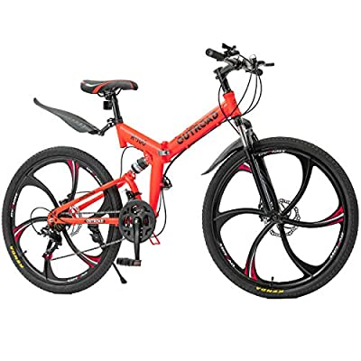 Max4out Mountain Bike Folding Bikes with High Carbon Steel Frame, Featuring 6 Spoke Wheels and 21 Speed Shimano Shifter, Double Disc Brake and Dual Suspension Anti-Slip Bicycles (Orange 26 in)