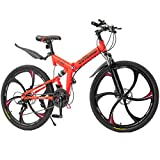 Max4out Mountain Bike Folding Bikes with High Carbon Steel Frame, Featuring 6 Spoke Wheels and 21 Speed Shimano Shifter, Double Disc Brake and Dual Suspension Anti-Slip Bicycles (Orange, 26 in)