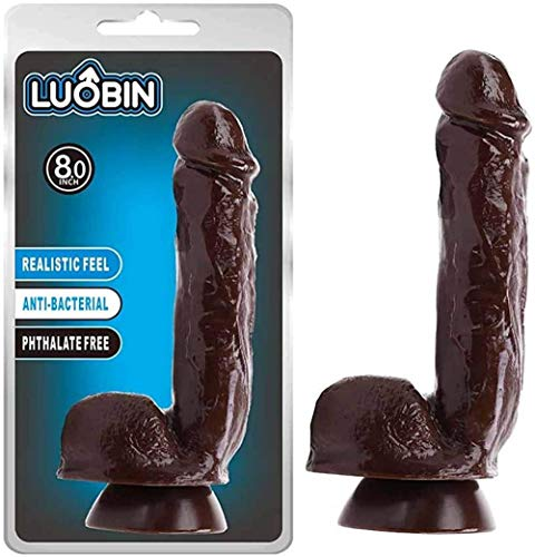 SINHE Lifelike Massager Realistic Ďîldɔ 8.7 Inch Black Man Ďîldɔ with Suction Cup for Women