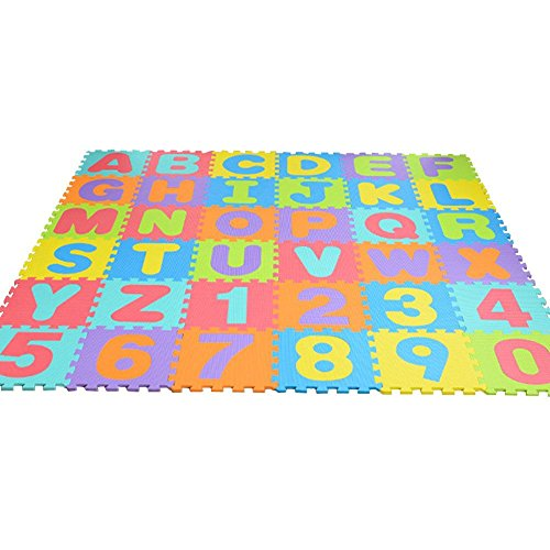 SNIIA 36 teilige Puzzlematte für Babys und Kinder Spielteppich Spielmatte Lernteppich Kinderspielteppich Schaumstoffmatte Matte bunt
