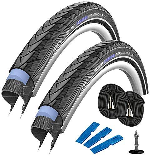 Schwalbe Marathon Plus HS 440 (37-622) 28 x 1,4 Zoll, Set: 2 x Fahrradreifen für Trekking- Crossbike + 2 x Schläuche DV 17 Dunlop (Blitz) Ventil