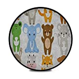 Round Area Rug Fluffy Soft Set Twelve Illustration Cute Cartoon Baby Shaggy Carpet Circle Bedroom Non-Slip Living Room Home Decor