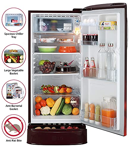 LG 190 L 4 Star Inverter Direct-Cool Single Door Refrigerator (GL-D201ASCY, Scarlet Charm, Base stand with Drawer) 4
