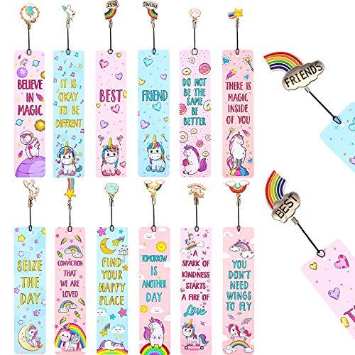 12 Pieces Unicorn and Rainbow Theme Bookmarks Sunflower Theme Bookmarks with 12 Pieces Metal Charms, Inspirational Quotes Bookmarker Page Markers for School Reading Teen Adult (Unicorn-Rainbow)