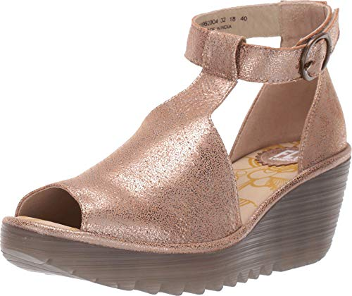 FLY London Yall962fly, Damen Offene Sandalen mit Keilabsatz, Gold (Luna 004), 41 EU (8 UK)