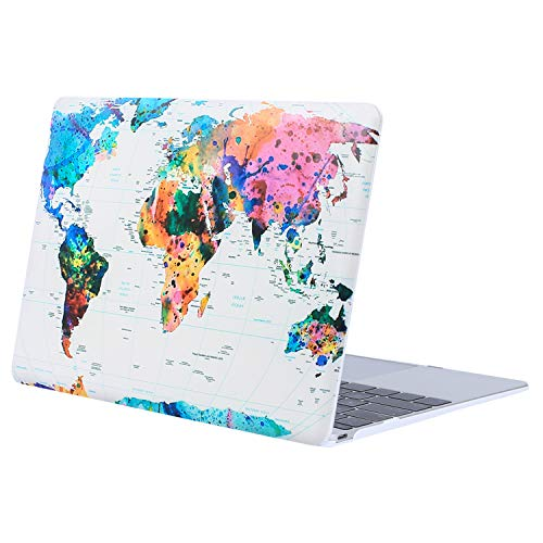 MOSISO Plastic Hard Shell Case Cover Compatible with MacBook 12 Inch Retina Display Model A1534 (Version 2017 2016 2015), World Map