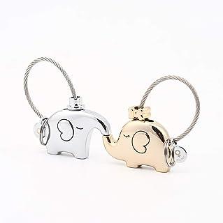 MILESI Original Cute Elephant Couple Keychain Personalized Keyring Birthday Gift