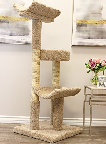 Prestige Cat Trees 130077-Brown Double Scratching Post Cat Tower Tree