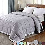downluxe Lightweight King Down Alternative Blanket with Satin Trim, Silver, 90 X 108 Inch