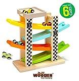 The Wooden Toy Factory - Circuito de Coches de Carreras Click Clack Racing Track con *6* Coches - Incluye Aparcamiento - No Requiere Montaje