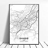 linbindeshoop Elche Pamplona Vitoria-Gasteiz Madrid Albacete Santander Oviedo España Lienzo Arte Mapa Póster (LQ-252) 40x60cm Sin Marco