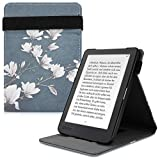 kwmobile Cover Compatible with Kobo Clara HD - PU Leather e-Reader Case - Magnolias Taupe/White/Blue...