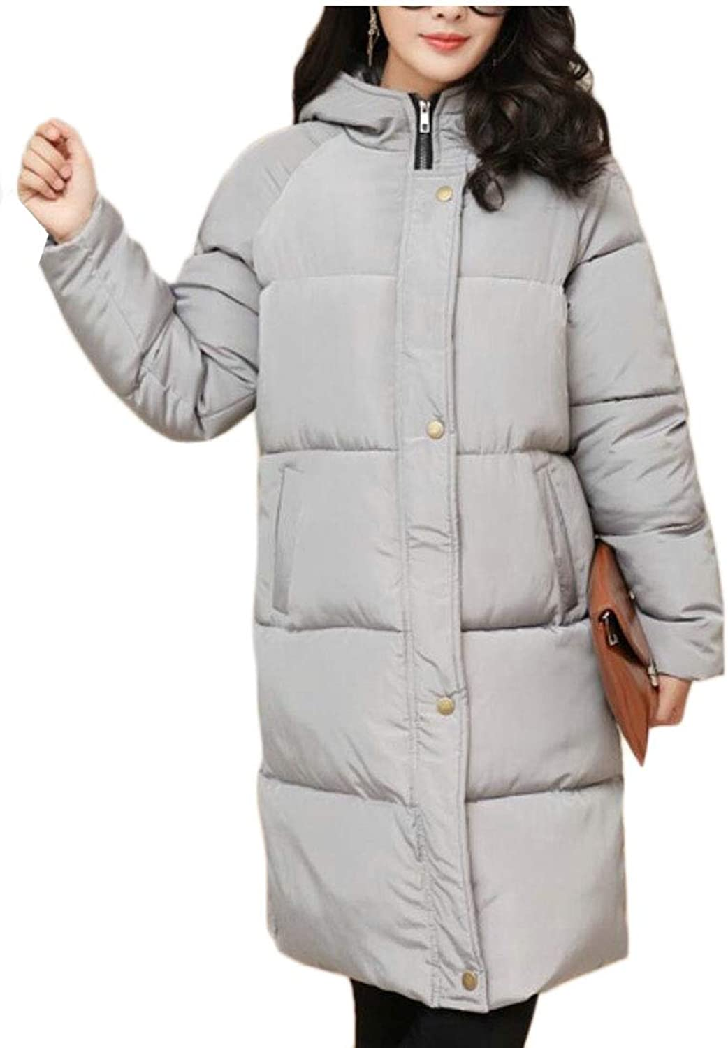 Gocgt Women Winter Long Down Jacket Quilted Puffer Thicken Overcoat Down Jacket