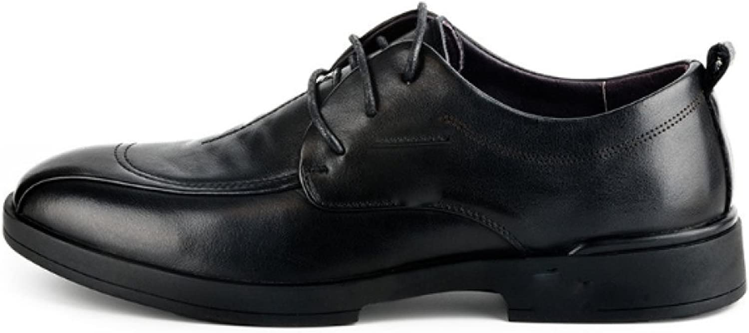 NIUMJ High-end Men Leather shoes Casual Business Deodorant Breathable Wear-Resistant