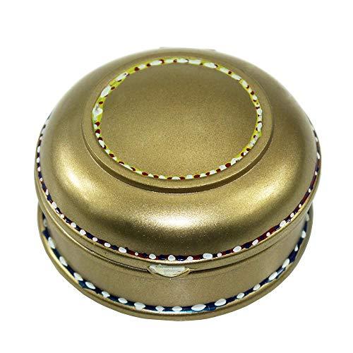 Caja de Joyería Caja de Metal de la joyería Retro joyería de Estilo Europeo, Caja de aleación de Zinc Ronda de joyería de la Caja para Mujeres (Color : Bronze, Size : 8.5x9.2x4.5cm)