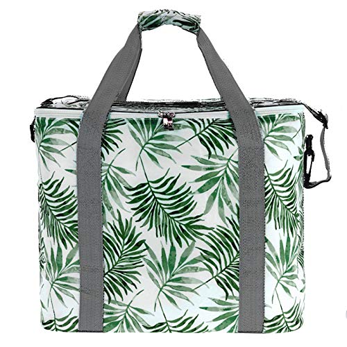 JEMIDI Kühltasche Kühltaschen Kühlbox Kuhlkorb Kühl Box Tasche Campingtasche Picknicktasche Grün Blätter 30 Liter