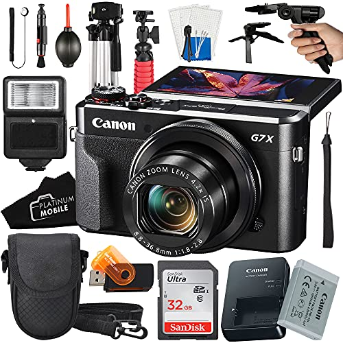 Canon PowerShot G7 X Mark II Digital Camera 20.1MP Sensor + SanDisk 32GB Card + Tripod + Case + Slave Flash Light + Pistol Grip + MegaAccessory Bundle (16pc Bundle)
