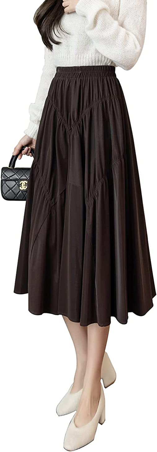 Women's Winter Midi Skirt PU High Waist Pleated Flared Splice Length Skirts