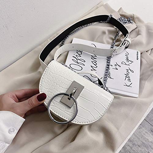 RMI Stone Pattern Pelle Crossbody Borse Per le Donne Tracolla Messenger Bag Femminile Waist Pack Lady Borse, bianco, Mini(Max Length