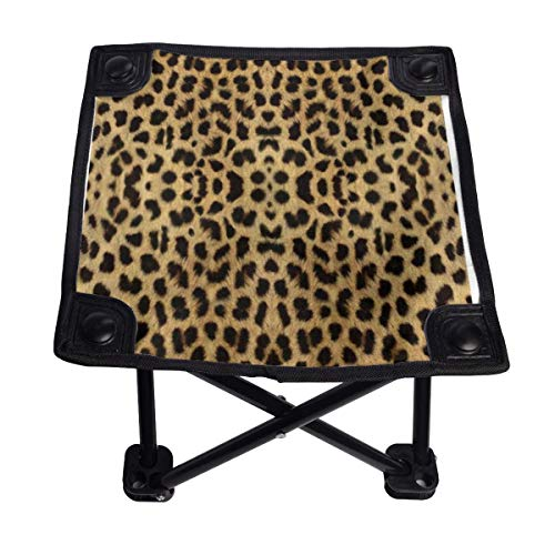 Becolc Foldable Camping Chair,Leopard Print Portable Four-Corner Stool for Camping,Backpacking,Hiking,Travel,FishingBeach,BBQ 11 inch