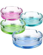 com-four® 4X Cenicero de Vidrio de Cristal para cigarillos - Ceniceros para Uso Privado y gastronómico de Vidrio Coloreado de 5 mm de Espesor (04 Piezas - Vidrio Colorido)