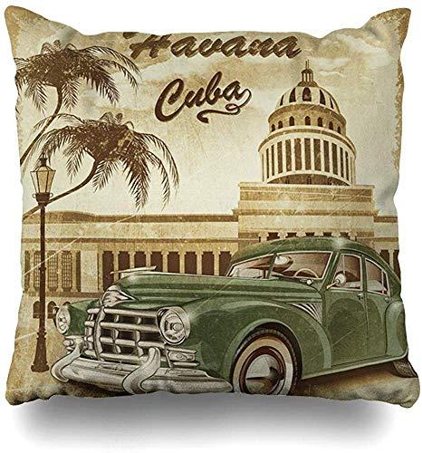 Doble Cojines Fundas 18' La Habana Cuba Retro 1950s 1960 Funda de Almohada Suave para la Piel