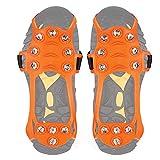 Wirezoll para Zapatos, Kiesel Gel Antideslizante través Zapatos/Zapatillas 10Tacos Nieve Crampones Tacos Pinchos, Zapatos Garra, Hielo Pikes, Color 11 Zähne Orange, tamaño Extra-Large
