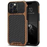 TENDLIN Kompatibel mit iPhone 13 Pro Hülle, Holz & Carbon Textur Design Leder Hybrid Handyhülle (Schwarz)