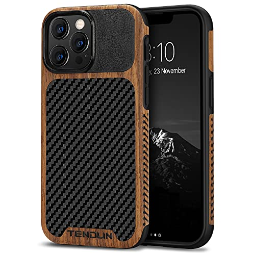 TENDLIN Compatible with iPhone 13 Pro Max Case Wood Grain with Carbon Fiber Texture Design Leather Hybrid Case Compatible for iPhone 13 Pro...