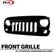 R&L Racing Glossy Black Finished For Jeep Wrangler JK 07-16 Front Grille Angry Bird Vertical Mesh Hood Bumper Grill