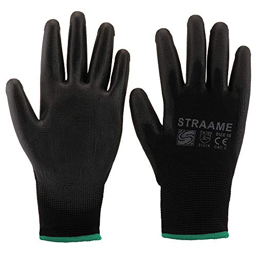 Straame Pack of 12 or 24 Black Safety Work Gloves, Outdoors PU and Nylon Non-Slip Work Handling Gloves, Good Dexterity Protective Gloves (Medium - Size 8, 12 Pairs)