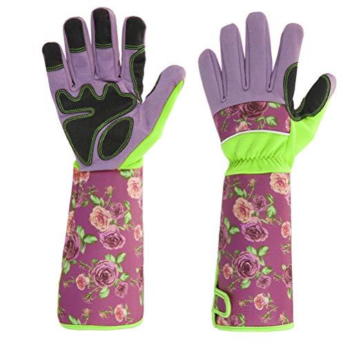 kuou guantes de jardín de cuero a prueba de espinas, mangas de estampado floral, guantes de trabajo de brazo largo para mujer (rosa)