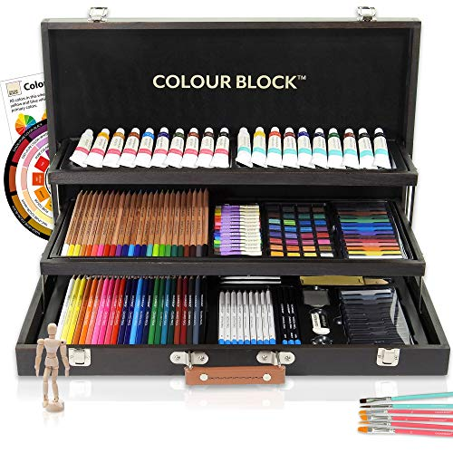 COLOUR BLOCK 181 pc Mixed Media Art Set in Wooden Case - Soft & Oil Pastels, Acrylic & Water Color Paints, Sketching, Charcoal & Colored Pencils and Tools - Professional Art Set for All Artists