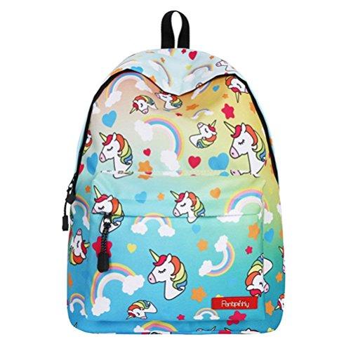 16'' Einhorn Schulrucksack für Unisex Jugendliche Leichtes Damen Herren Reise Rucksack Taschen Freizeit Laptoptasche Backpack (C)