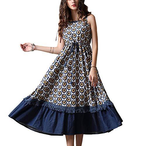 Valin Damen Retro Swing Jeanskleid Ohne Arm Kleid,DA82097,Blau,S