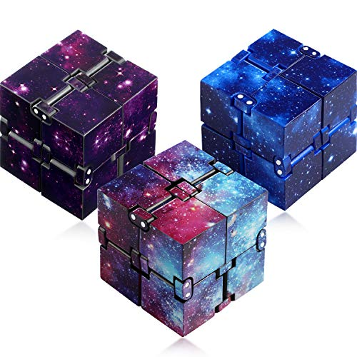 3 Pieces Infinity Cube Prime for Stress and Anxiety Relief Sensory Tool Fidgeting Game Supplies (Starry Color, Starry Blue, Starry Purple)