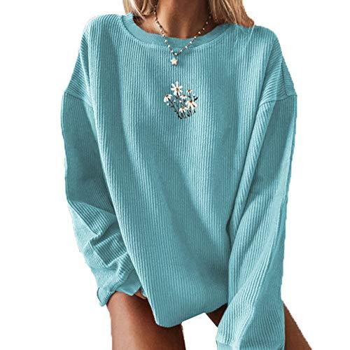 Blusa de otoño para Mujer, Suelta y Fina, con Estampado de Rayas, Cuello Redondo, Manga Larga, suéter a Rayas para Mujer