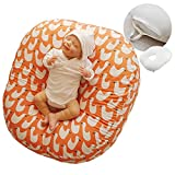 ROTOTO bebe Baby Lounger Pillow Newborn Nest (with Removable Cover for Infant) (Orange Duck)