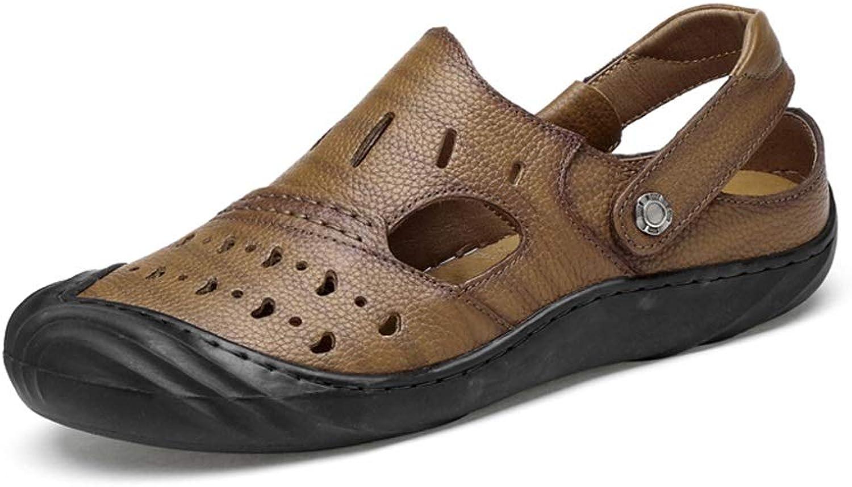 Men's Leather Sandals Pgoldus Breathable Casual Summer Beach shoes Non-Slip Flat Round Head Near Foot Buckle Slippers (color   Khaki, Size   9.5 D(M) US)