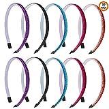 10 Stück Haarreifen Mädchen,Glitzernde Haarband für Kinder mehrfarbige Stirnband Kunststoff DIY Haarbänder mit Zähnen