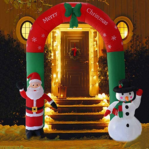 """""""N/A"""" Christmas Inflatable Santa Claus Archway Arch with 8.2ft Santa Claus Snowman Cane Cute Holiday Decoration for Outdoor Indoor Home Garden Family Yard Christmas New Year"""