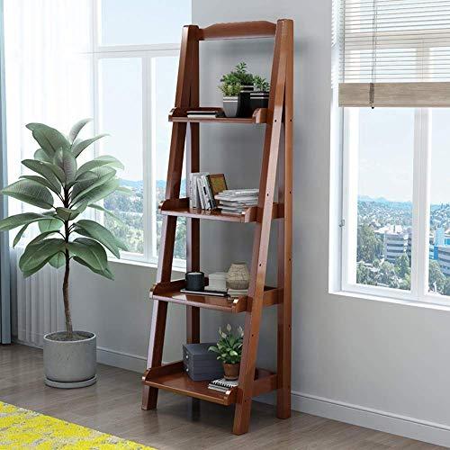 Massivholz Regal Boden Trapez Regal Wohnzimmerregal 4 Schicht Aufbewahrungs Gestell Blumenständer-140 * 60 * 30Cm,Brown