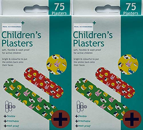 Pack of 2 X 75pcs Fun Childrens Plasters Band| Fun Plasters for Kids | Brightly Coloured and Easily Detectable Assorted Plasters Breathable | Flexible & Washproof Material First Aid Plasters