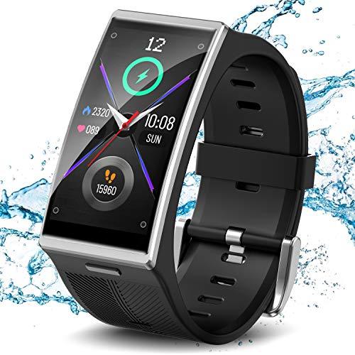 TICWRIS Smart Watch, Fitness Tracker mit Blutdruck, Herzfrequenz, Schlafüberwachung, 1,91 Zoll 3D-gebogener Bildschirm IP68 Wasserdichter Fitness Armbanduhr Smartwatch für Männer Frauen(Silber)