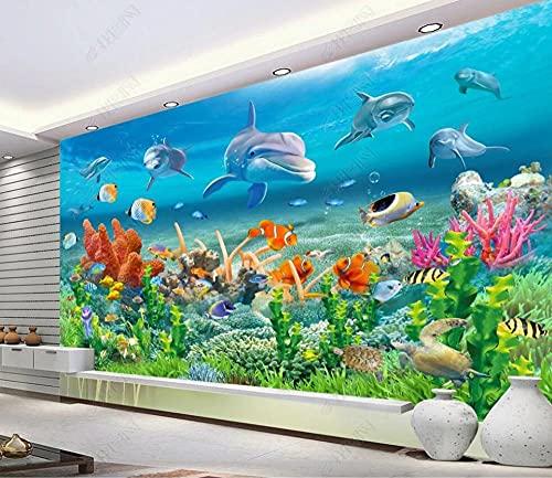 MENGRU Wallpaper Papel Pintado 3D Mundo Bajo El Agua Coral Reef Dolphins Fotomurales 3D Tv Fondo Pared Dormitorio Murales Papel Tapiz Moderno 400cmX250cm