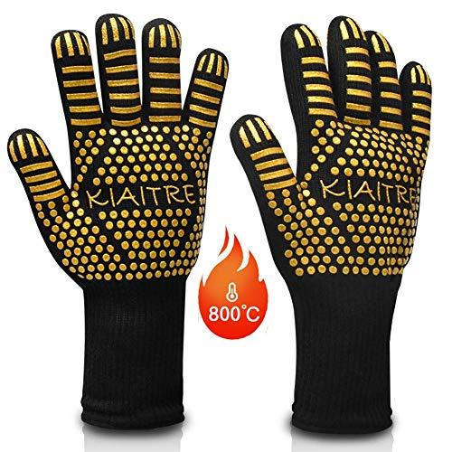 Kiaitre Grillhandschuhe 800℃ Extrem hitzebeständig - Flexible Ofenhandschuhe 12,5