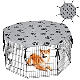 KOOLTAIL Dog Playpen Cover for Indoor & Outdoor - Water Proof Pet Crate Cover, Escape Proof Privacy Kennel Cover Fits 24 Inches Pen with 8 Panels