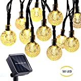 Zuoyour Globe Solar String Lights, 23ft 7m 50 LED 8 Modes Waterproof Fairy Lights with Memory, Crystal Ball Lighting for Patio, Lawn, Garden, Wedding, Party, Christmas Decorations (Warm White)