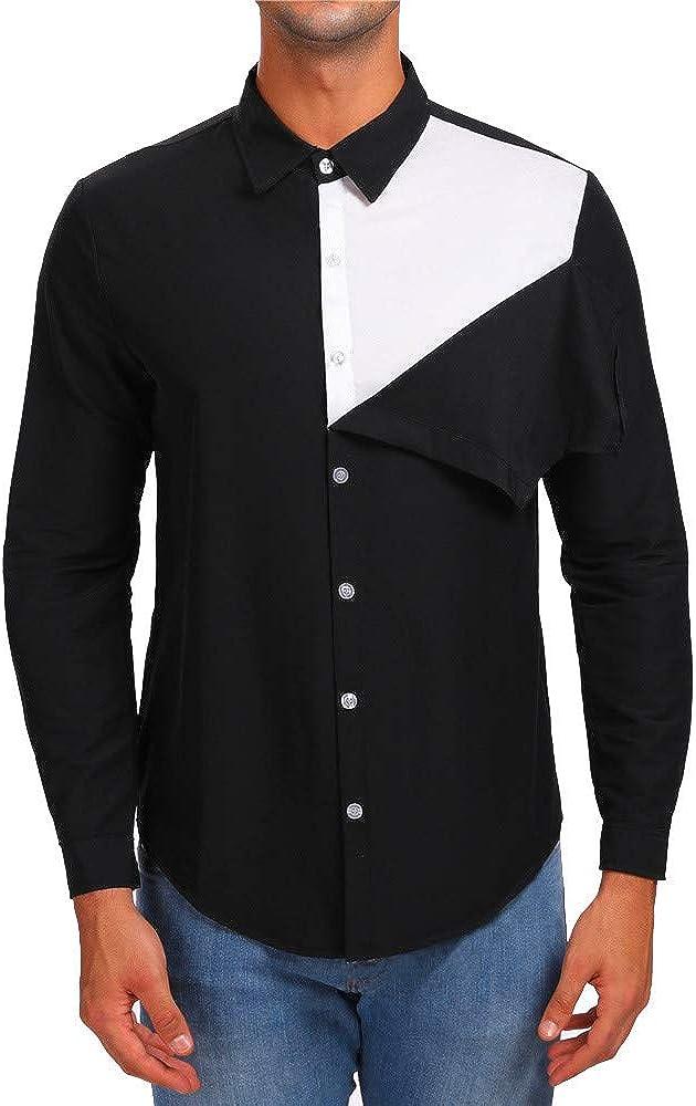 MODOQO Men's Button Down Dress Shirts Long-Sleeve Regular-Fit Casual Solid Top Shirt