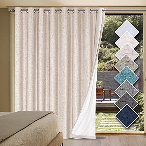 H.VERSAILTEX Linen Blackout Curtains Durable Thick Textured Linen Look 100% Blackout Patio Door Curtain Anti Rust Grommet Extra Wide Sliding Door Curtain Panel, W100 x L96 inch - Natural